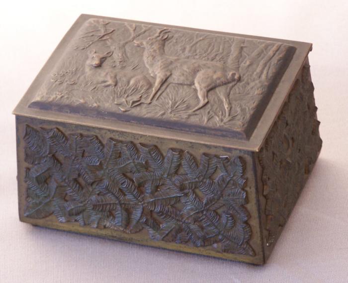19th c. bronze bibelot dresser jewelry box