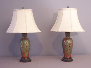 Image of French 19th c enamelled glass vases Islamic lamps