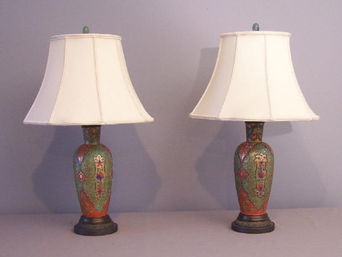 French 19th c enamelled glass vases Islamic lamps