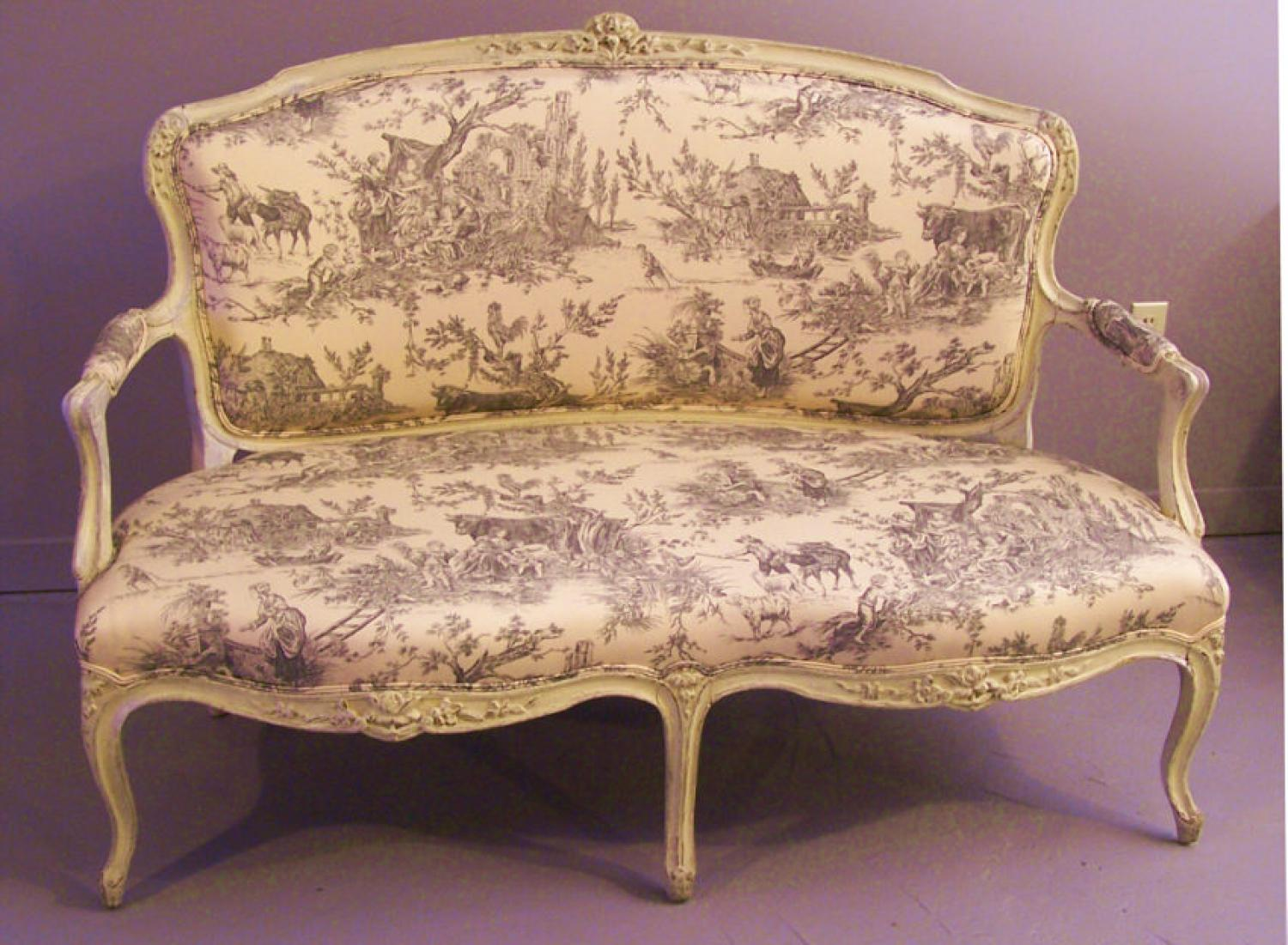 Louis XV style grey painted canape settee c1800