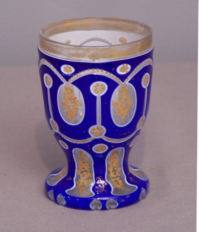 Bohemian overlay cased glass tumbler c1880