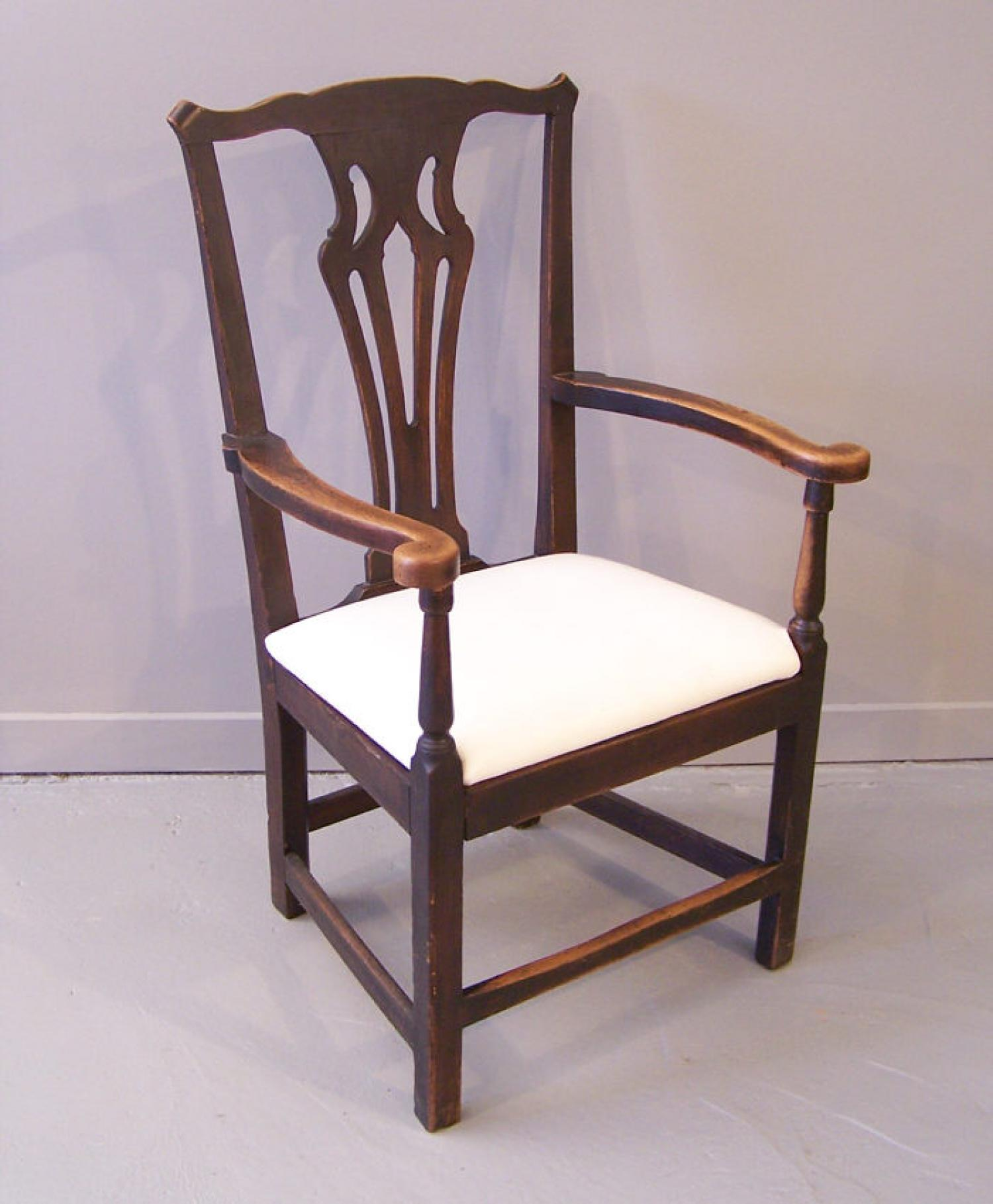 English period country chippendale oak arm chair c