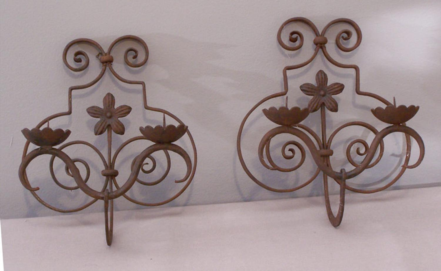 Renaissance style hand wrought iron wall sconces c1890