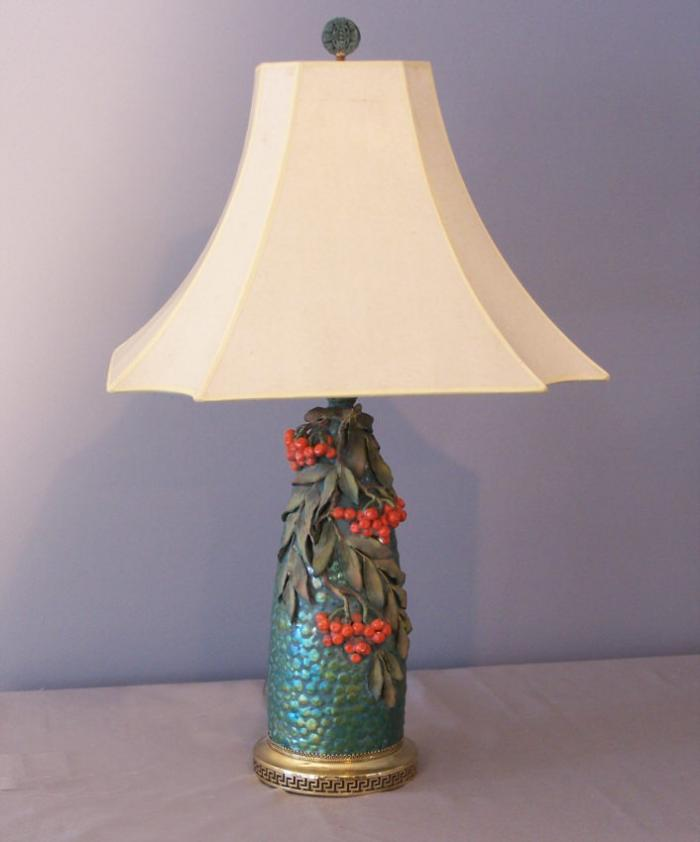 Zolnay style iridescent glazed ceramic vase lamp c1870