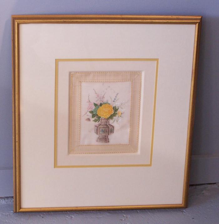 Chinese 19th c.rice paper painting of chrysanthemum