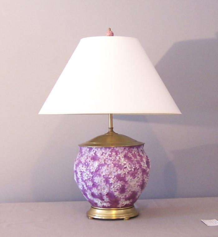 English 19th c.glazed hardpaste cachepot lamp