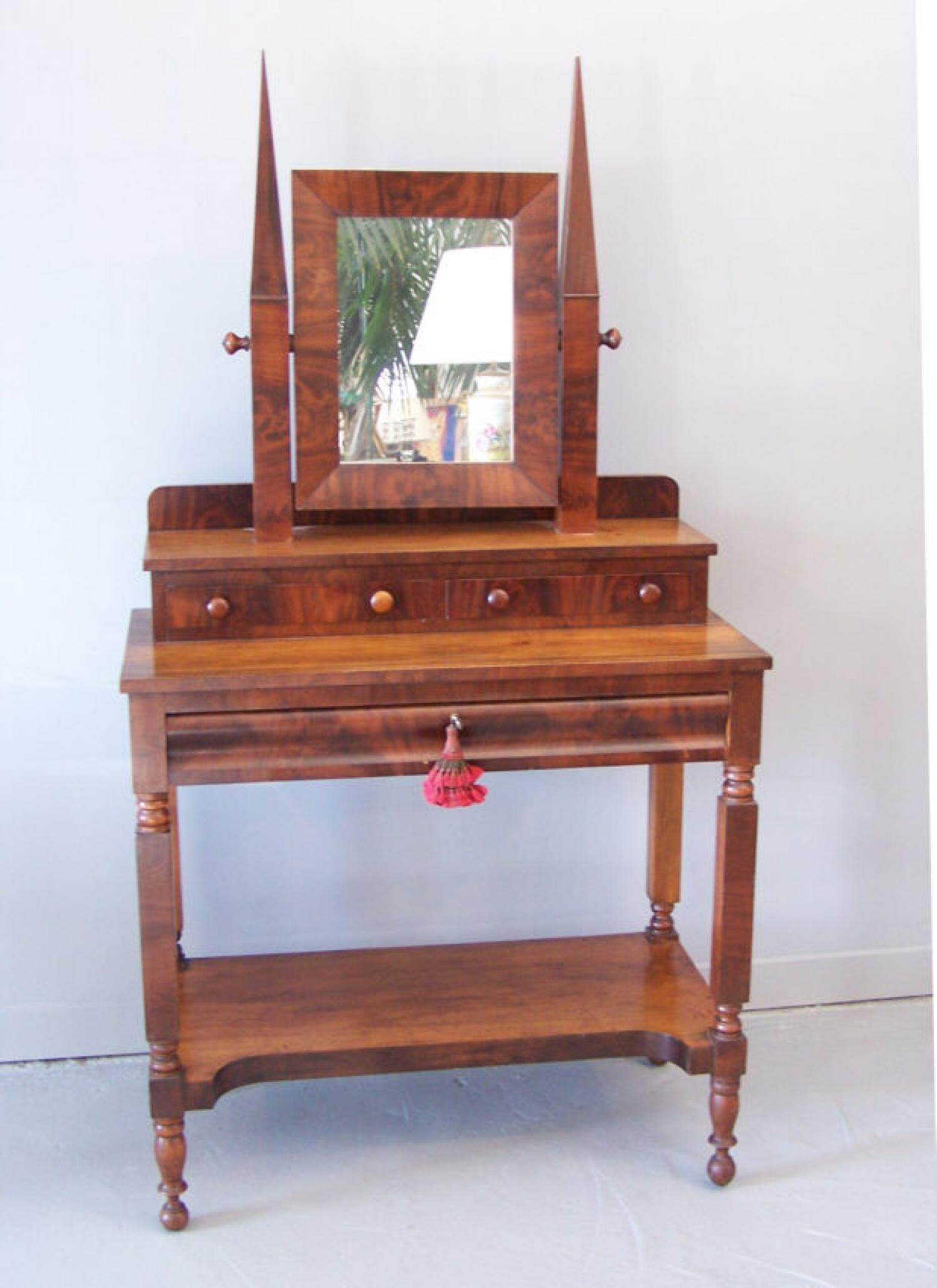 American Empire dressing table Gothic Revival elements c1835