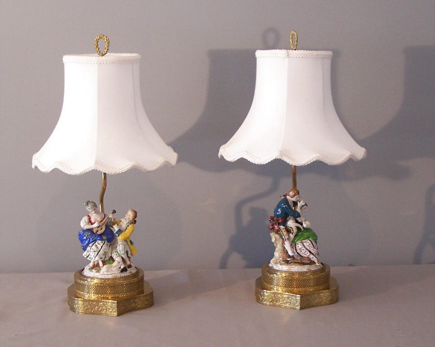 Pair German Dresden hand painted porcelain figure lamps