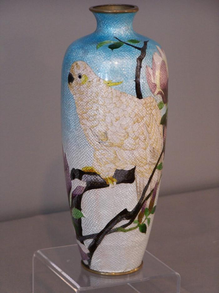 Japanese Ginbari cloissone tall vase c1910