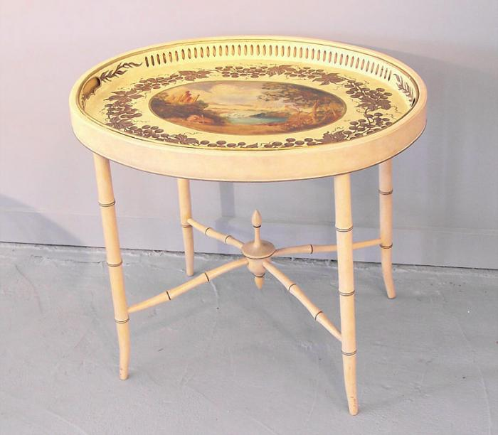 George IV painted pierced rim oval tray coffee table