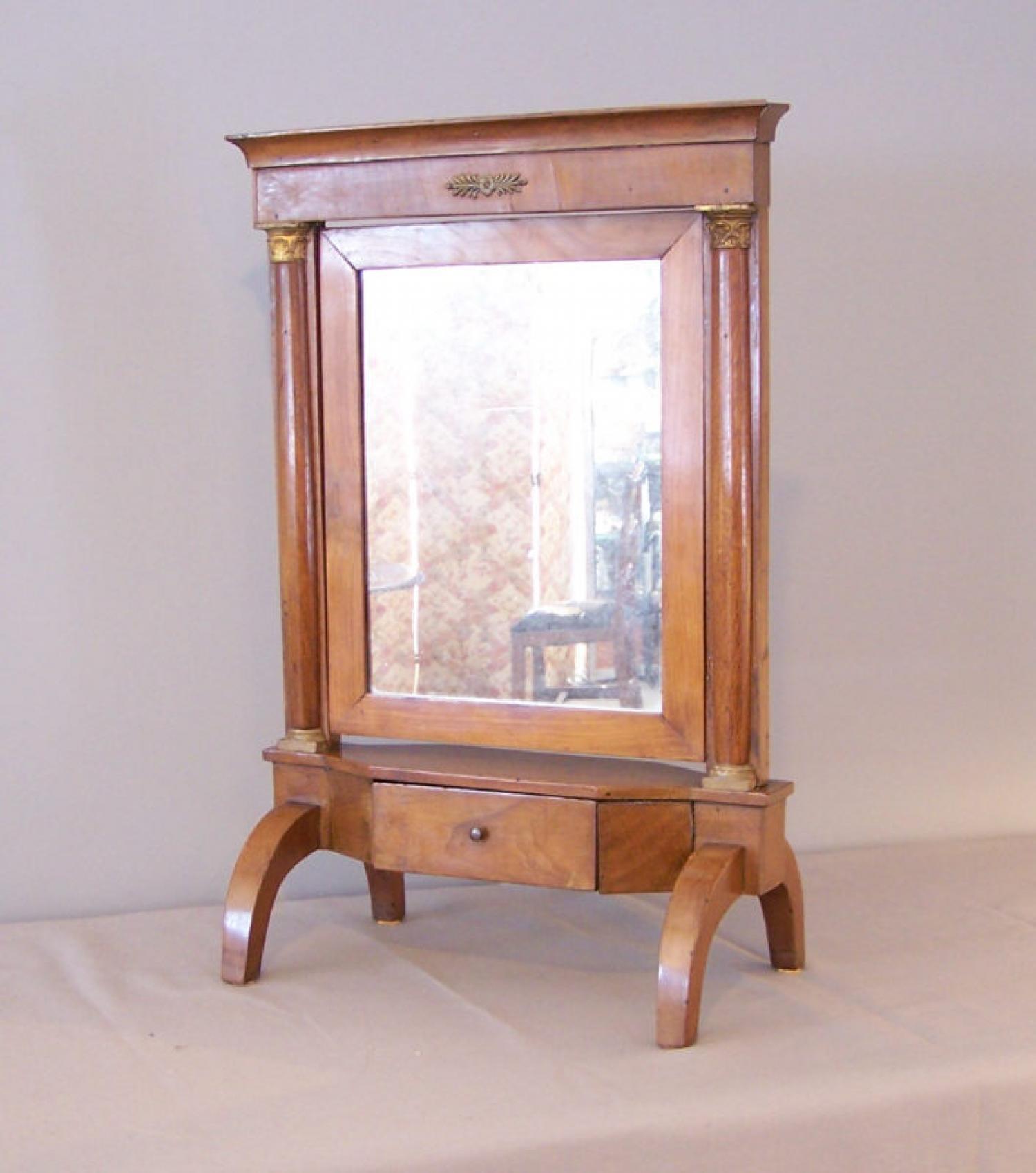 Italian 18th c Directoire Period fruitwood vanity cheval mirror