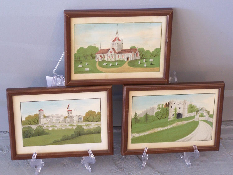 Grand Tour souvenir English miniaturist colored sand paintings