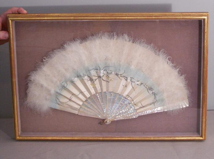 China Trade hand painted ostrich feather hand fan