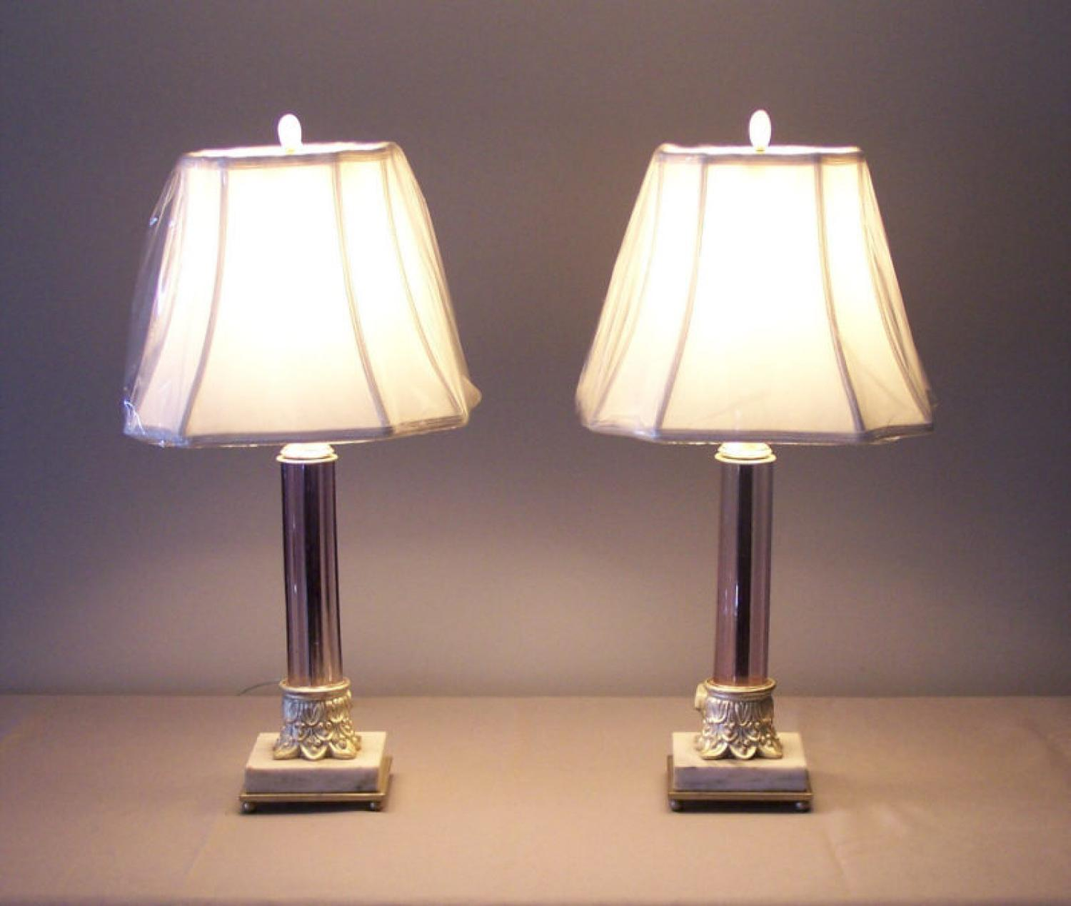 Pair French lilac color crystal column lamps c1910