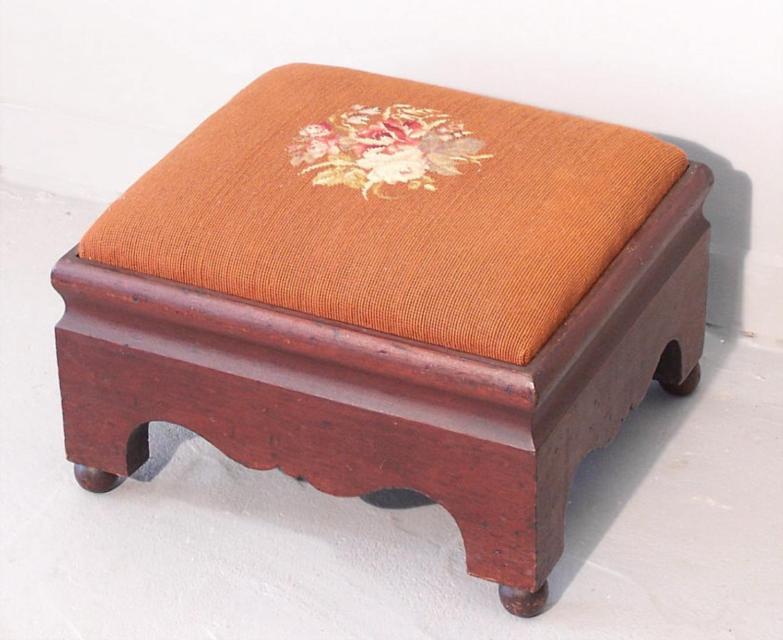 American Period Empire oversize mahogany frame footstool