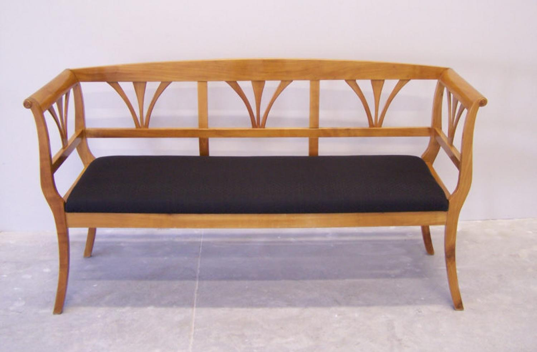 Biedermeier fruitwood bench with horsehair bench c1820