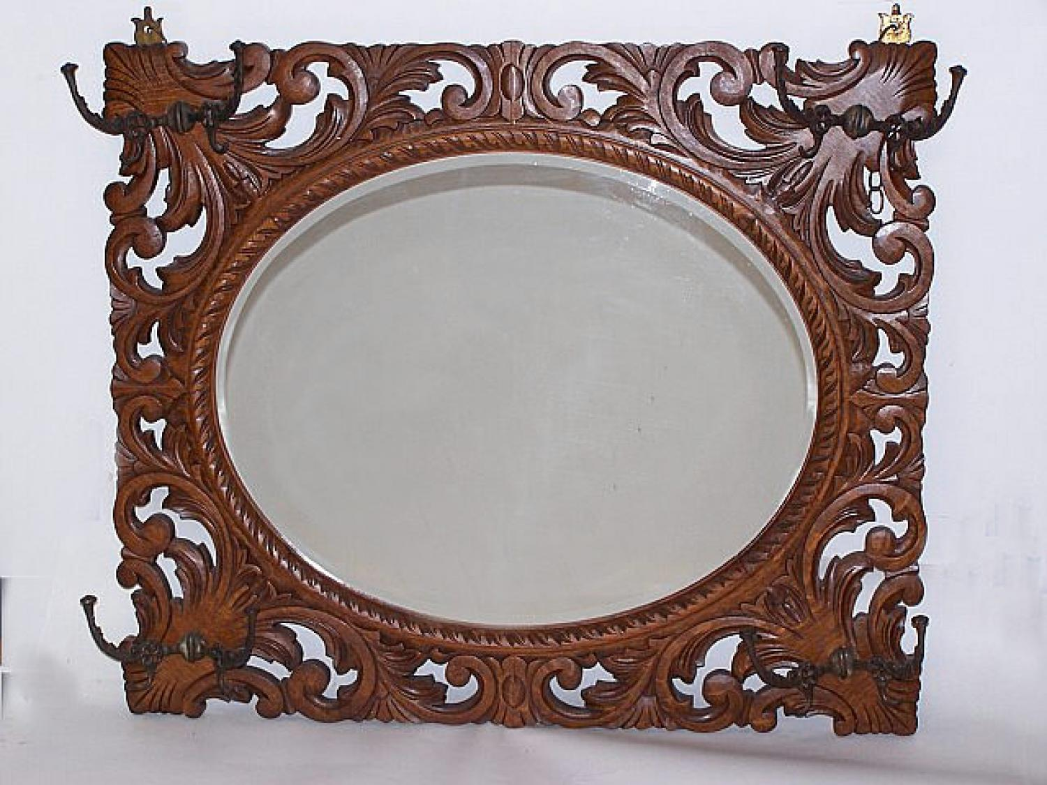 American Victorian hand carved oak mirror c1880