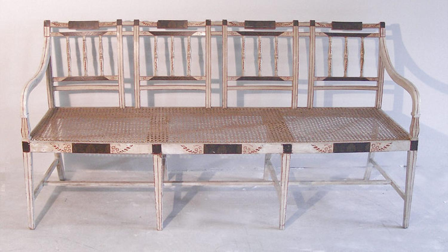 19th century Continental caned and painted settee