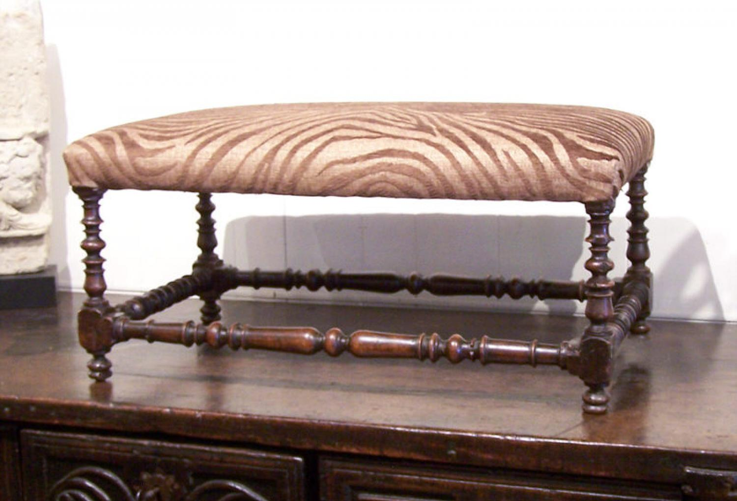 17thc  Italian walnut twist leg bench in zebra upholstery
