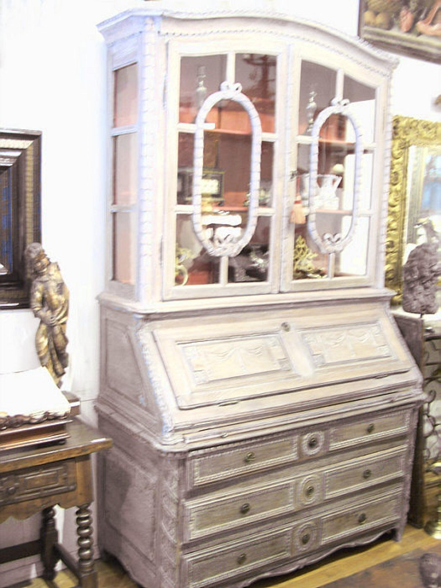 18th to early 19thc tall French drop front secretary desk