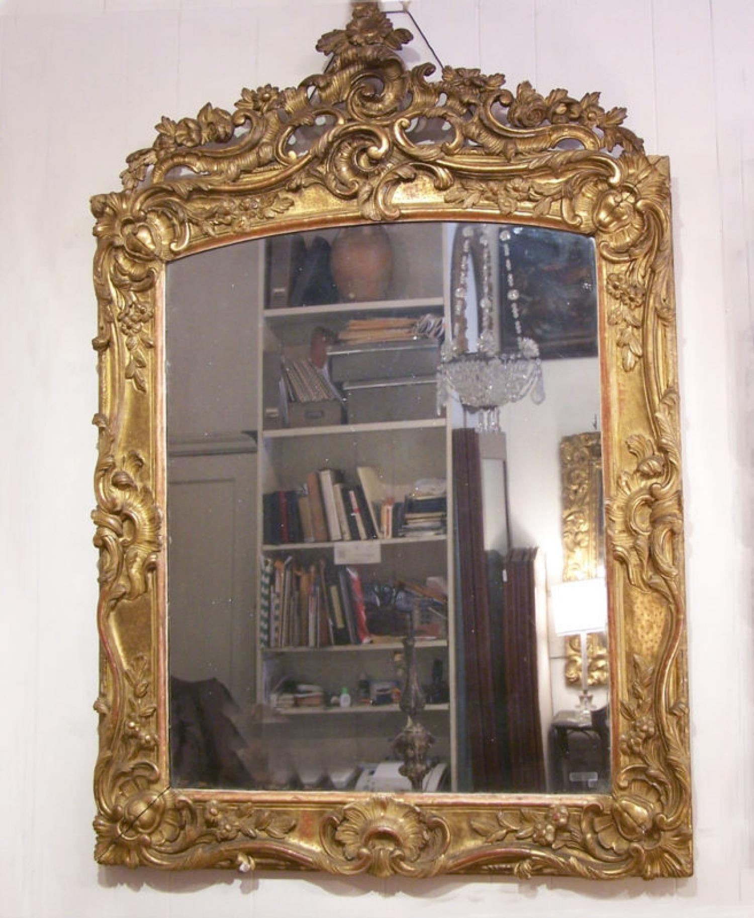 Large 18th century French gold leaf mirror c1780
