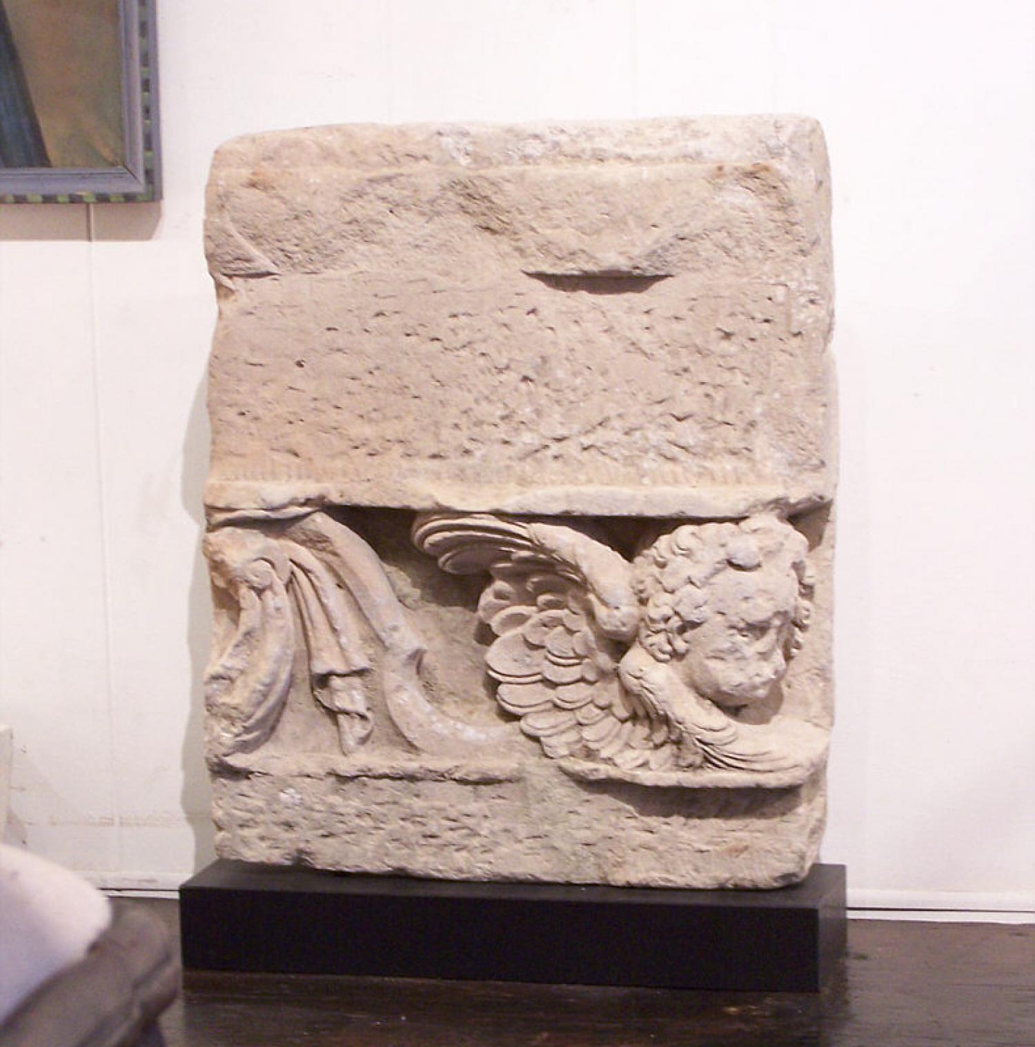 17th century Italian limestone carving of an angle