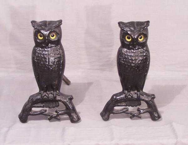 P S And W Cast Iron Owl Fireplace Andirons C1880