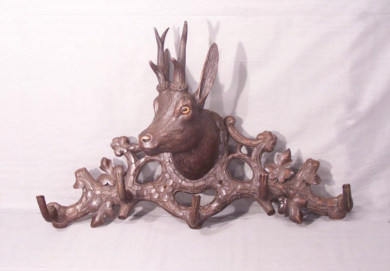 black forest linden wood carved deer coat rack c1880. Black Bedroom Furniture Sets. Home Design Ideas
