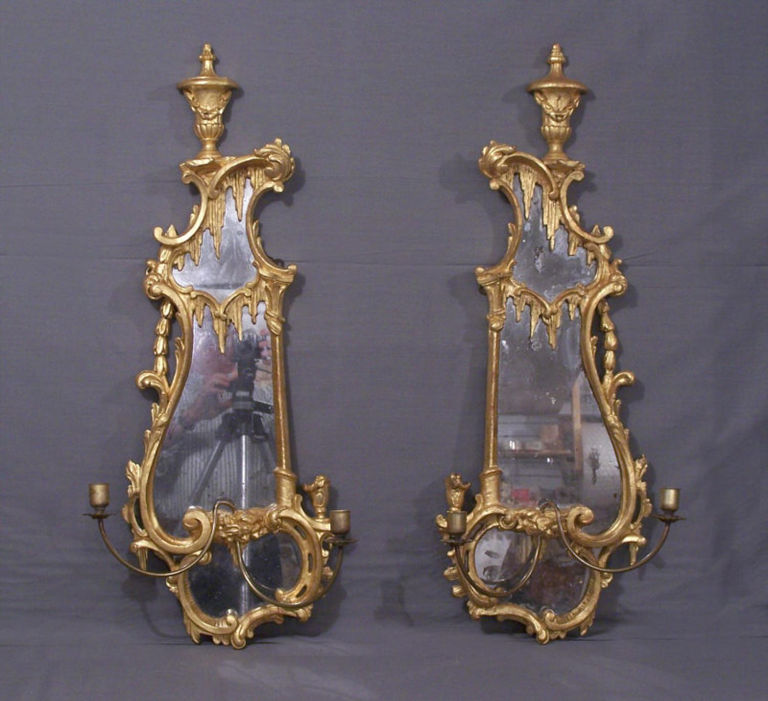 Pr of George lll 18thc gilt wood and mirrored wall sconces
