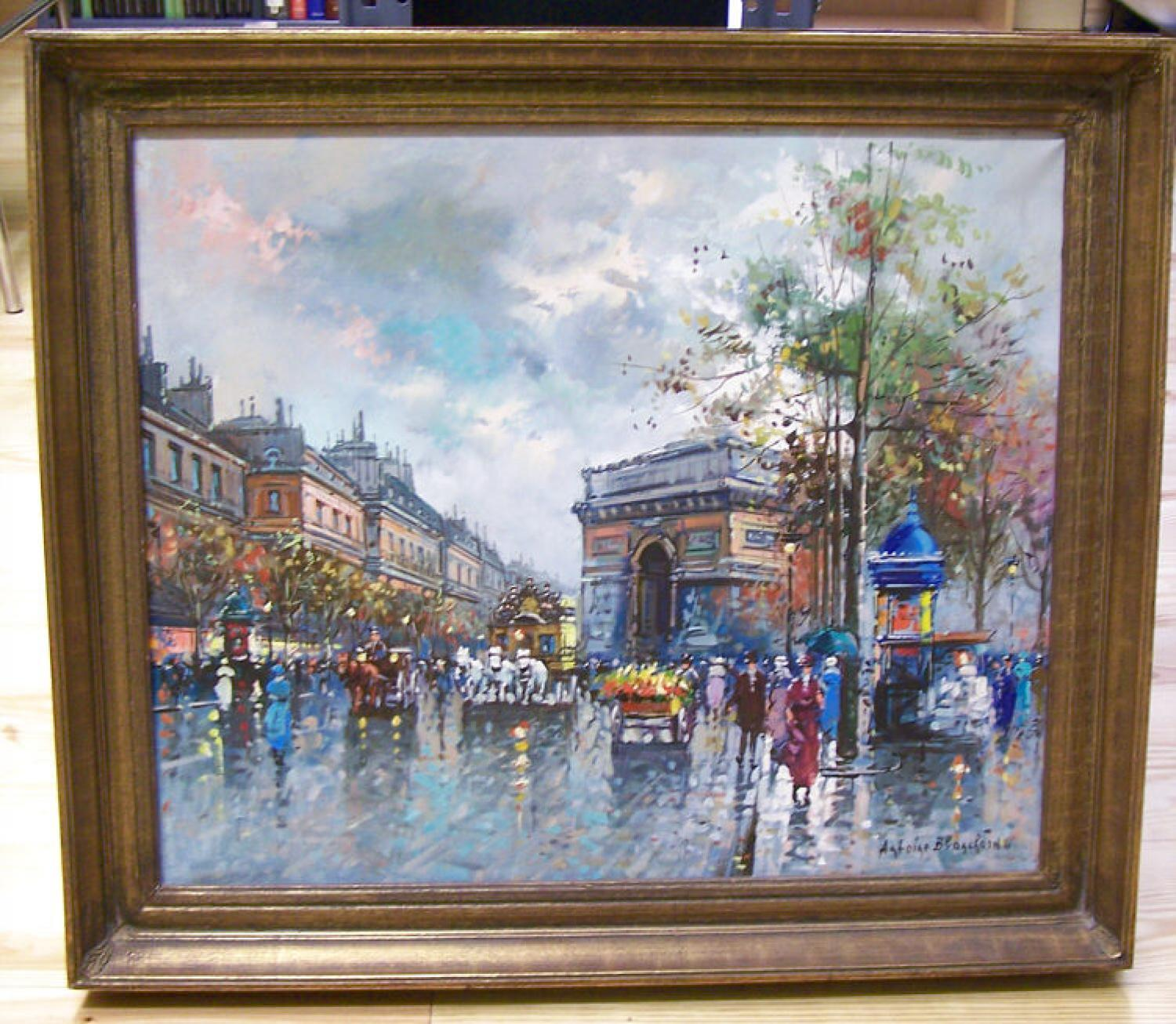 Busy street scene after a rain by The Arc De Triomphe Blanchard