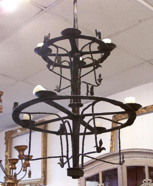 18th century Spanish double ring hanging ceiling fixture