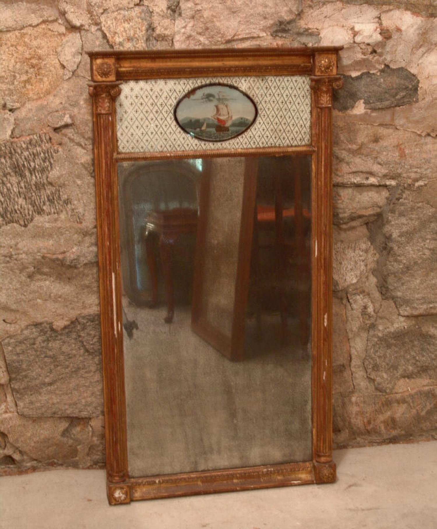 Early American Federal looking glass mirror with ship