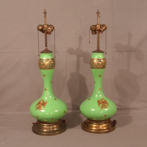 Pair 19th c French Empire green opaline glass lamps