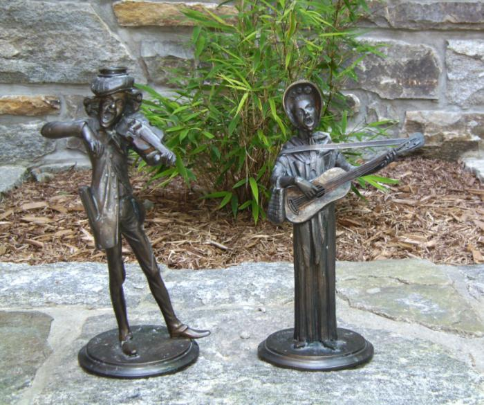 French bronze street musician candlesticks c1880