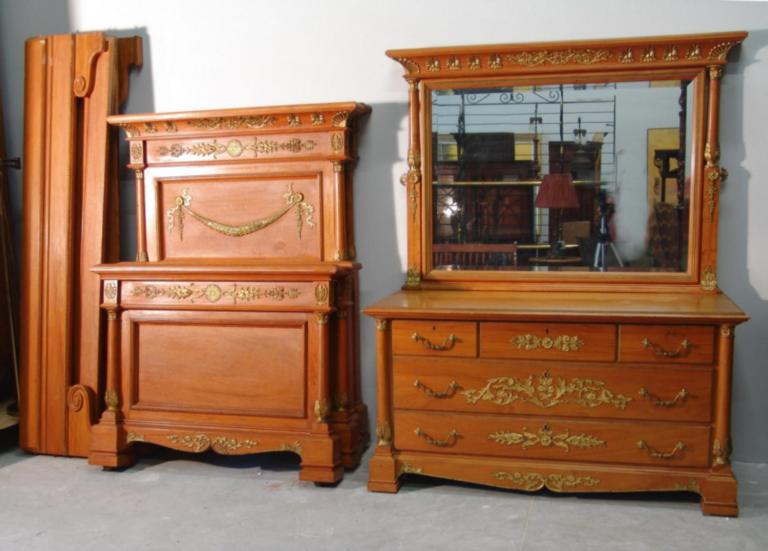 Pair of Horner satin and bronze twin beds with dresser
