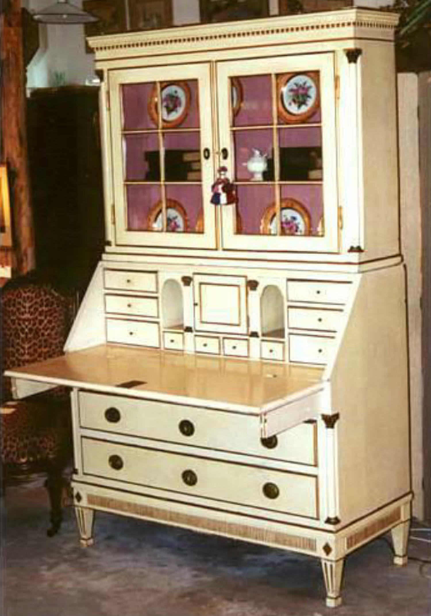 Swedish 19thc cream painted Secretary Desk bookcase