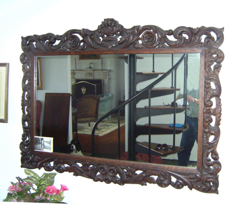 Oak frame mirror  scroll carved c1890