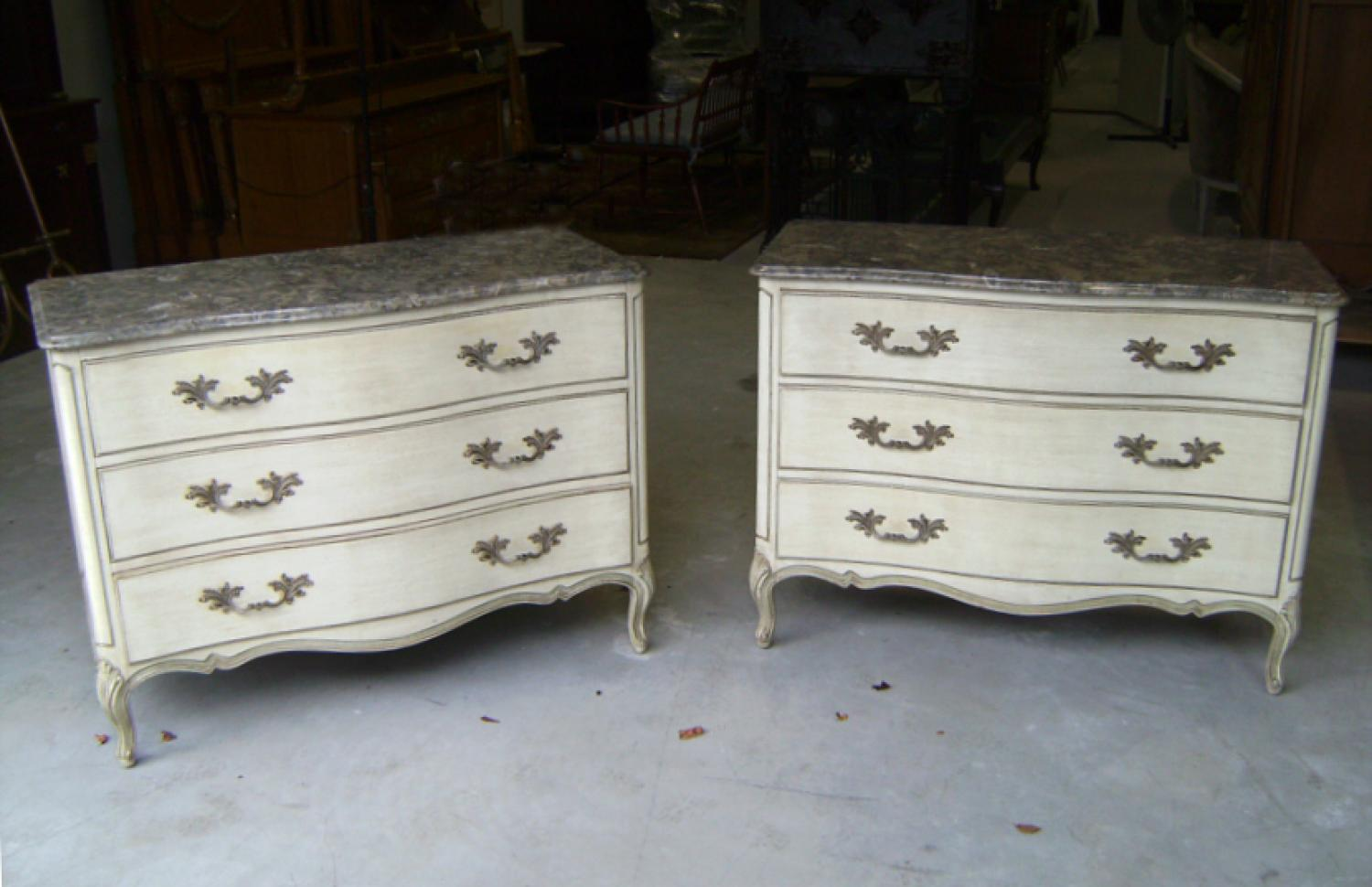 Pair of Henredon French Louis xv style marble top dressers