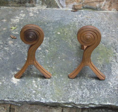 Pair fiddlehead fern andirons