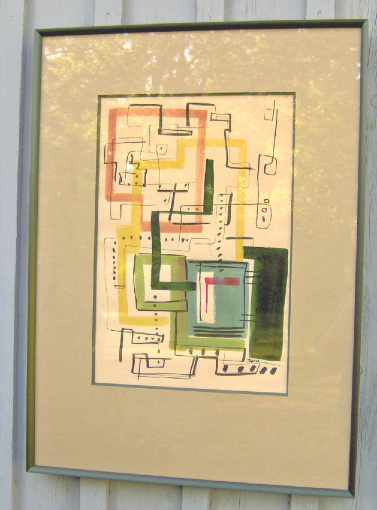 Joel Beck  abstract expressionist watercolor on paper c1950