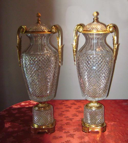 Marbro Baccarat Crystal covered vases with gold vermeil