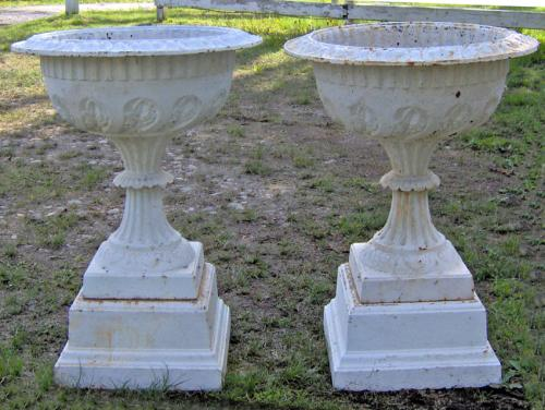 American 19th C cast iron Lily of the Valley garden urns c1880