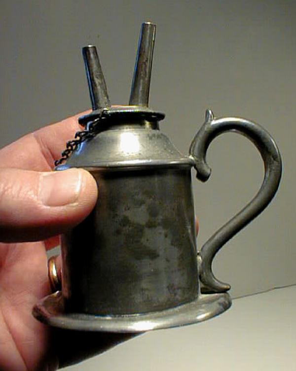 price my item value of early american pewter hand whale oil lamp. Black Bedroom Furniture Sets. Home Design Ideas