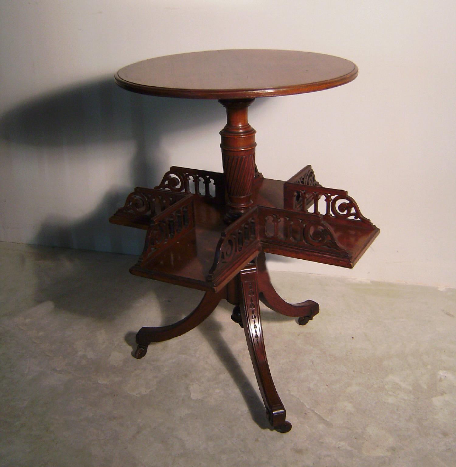 English antique Victorian walnut revolving book case table c1860