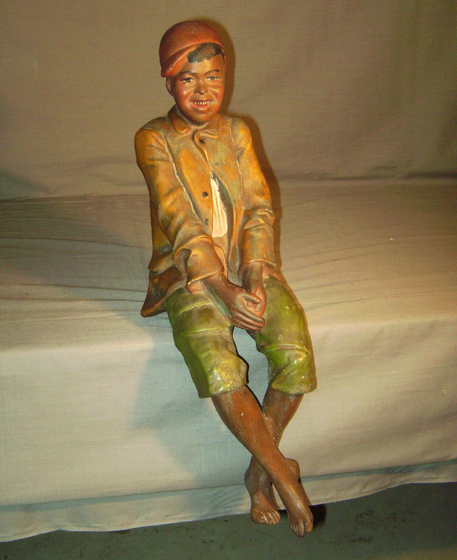 Painted ceramic figure of black boy Austrian c1880