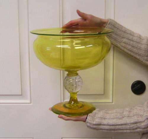 Pairpoint canary yellow controlled bubble blown glass compote