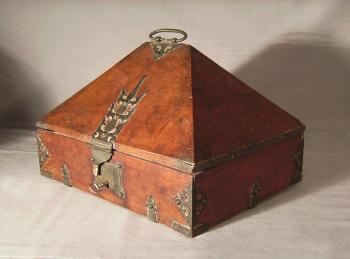 Image of 19th c rosewood dowry box from Malabar Coast
