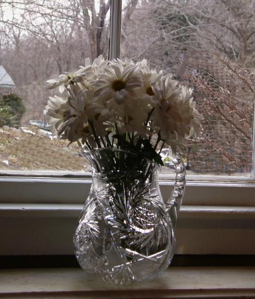 Brilliant cut glass water pitcher in pinwheel design c 1900