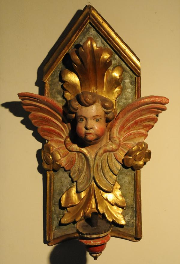 18th Century Italian Painted Gilt Wall Bracket Candle Sconce