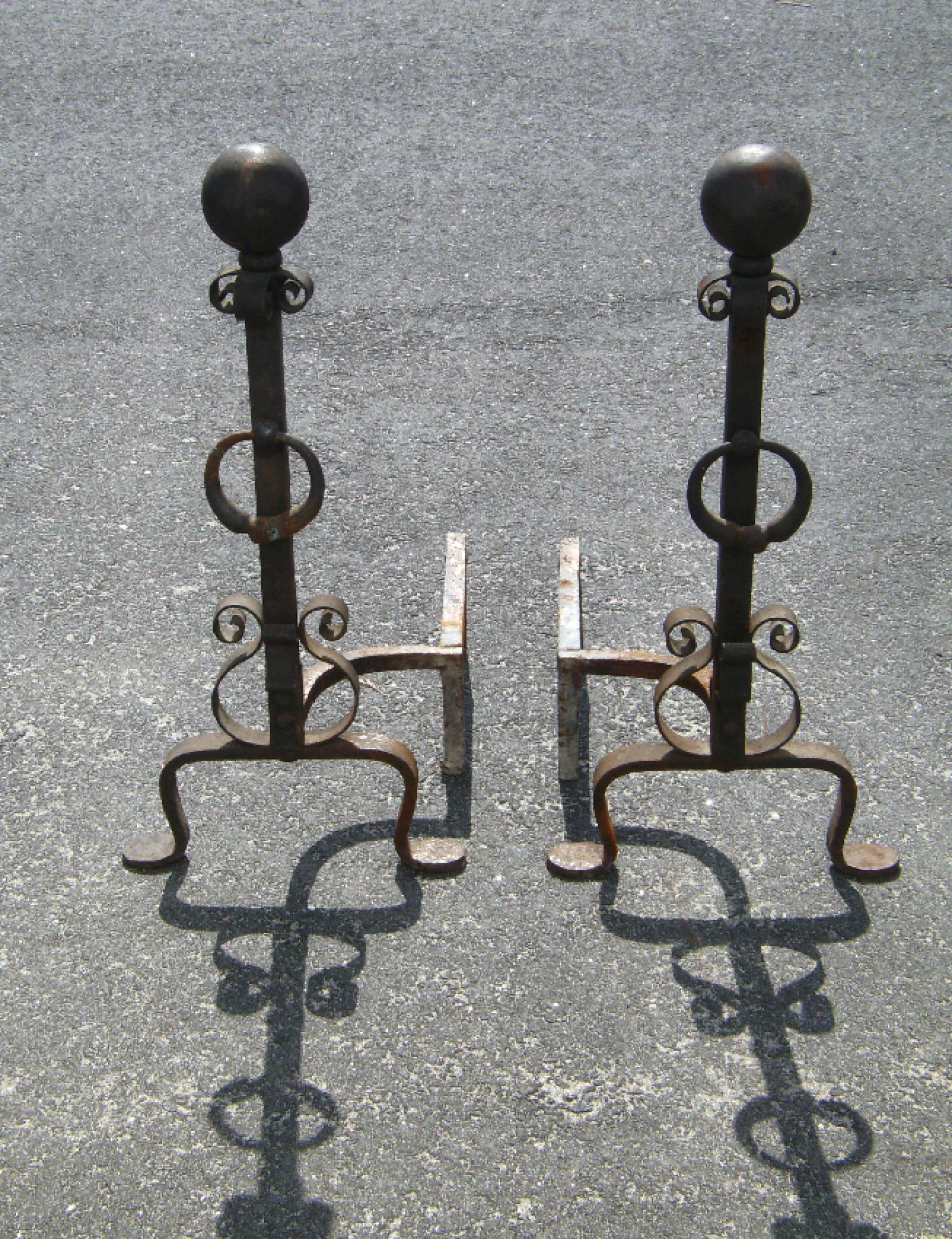 Pair 30 inch ball top iron fireplace andirons with scrollwork